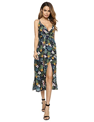 Beyove Faux Wrap Floral Dress for Women, Spaghetti Strap Sleeveless High Split Long Maxi (Floral Nylon Wrap)