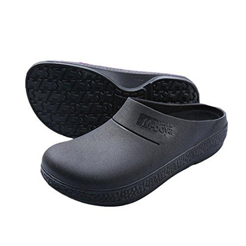 EASTSURE Slip Resistant Shoes Women Men Black Non Slip Kitchen Work Shoes for Nurse Chef,US 10,EU -