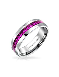 Birth Month Color Channel Set Crystal Eternity Band Ring for Women for Men for Teen Silver Toned Stainless Steel