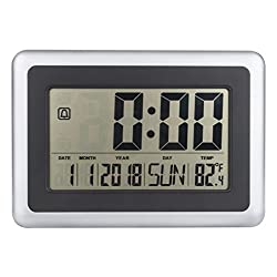 """OCEST Digital Alarm Wall Clock Large Display 7.5"""" LCD Screen with Date Time Indoor Temperature Alarm Function Easiest Set"""