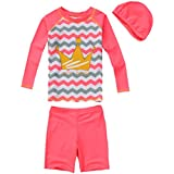 JUIOKK Boys/Girls 2-Pieces Swimsuit with Swim Cap,Kids Rashguard Long Sleeve Sun Protection Swimwear