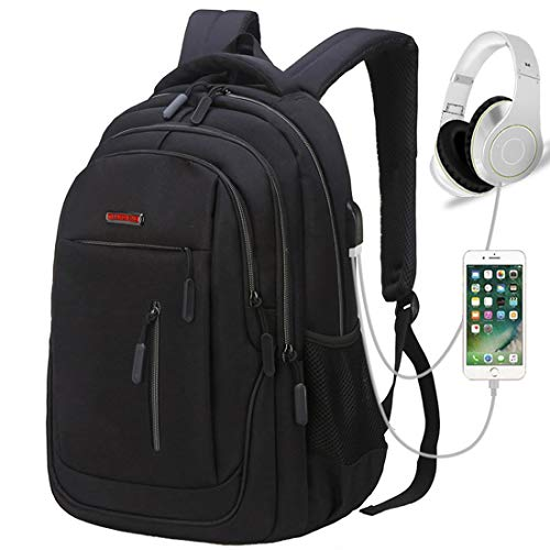 Travel Laptop Backpack, Business Laptop Backpacks with USB Charging Port and Headphone Interface,Water Resistant College School Computer Bag for Women & Men Fits 15.6 Inch Laptop and Notebook (Black) by MEWAY