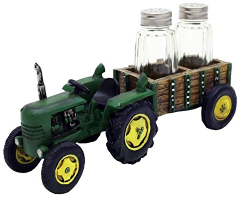 John Deere Kitchen Accessories - Green Tractor and Wagon Salt & Pepper Shaker Set - Farm Decor