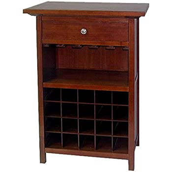 Exceptional Winsome Wood Wine Cabinet With Drawer And Glass Holder, Walnut Nice Look