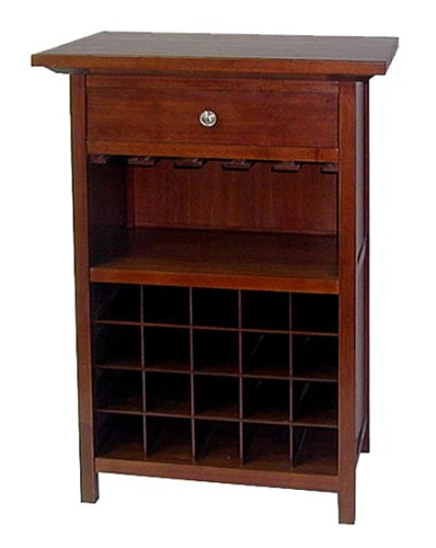 Winsome Wood Wine Cabinet with Drawer and Glass Holder, Walnut (Walnut Cabinet)