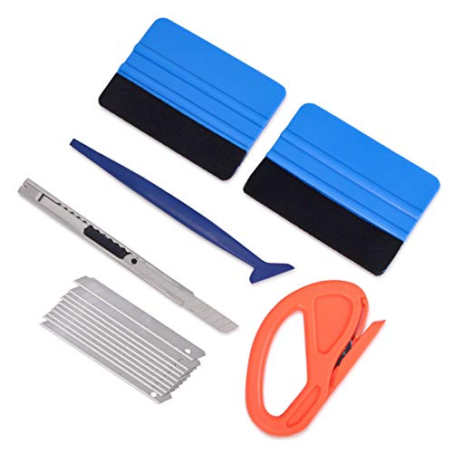 Vehicle Vinyl Wrap Window Tint Film Tool Kit Include 4 Inch Felt Squeegee, Retractable 9mm Utility Knife and Snap-off Blades, Zippy Vinyl Cutter and Mini Soft Go Corner Squeegee for Car Wrapping ()