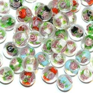 Steven_store G3538 Assorted Color Silver Foil Lined w Pink Rose 12mm Round Glass Beads 25pc Making Beading Beaded Necklaces Yoga Bracelets