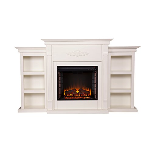- Southern Enterprises Tennyson Electric Fireplace with Bookcase, Ivory Finish