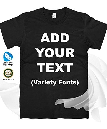 Custom T Shirts Ultra Soft Add Your Text for Men & Women Unisex Cotton T Shirt [Black/S] -