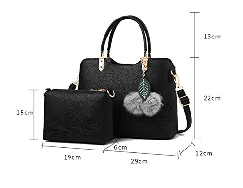 Printing piece Leather Mother Lxyiun Embroidered Brown Women Crossbody Black Bag Pu Bag Handbag Two Bag Fashion Hand qqYRn81