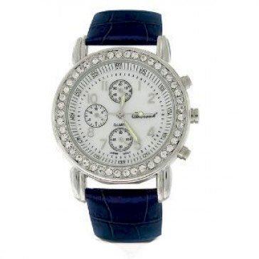 Deco Timepiece Fashion Watch - Geneva Round Deco Blue Leather Strap Watch