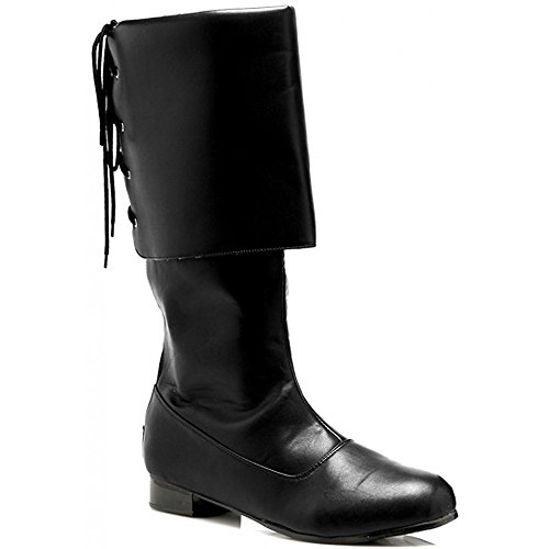 Sparrow Black Boots Costume Shoes - Large - Mens Black Pirate Boots