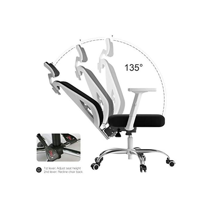 Diseño ergonómico: el diseño único imita la columna vertebral humana. El respaldo de la silla puede controlar su postura en cualquier momento, para asegurar la alineación de la columna y el soporte de la postura de la espalda baja y aliviar su dolor de espalda. Varios ajustes: las diversas características de ajuste le brindan un mejor soporte mientras está sentado en nuestra silla ergonómica de oficina. Brazos regulables en altura, soporte lumbar, reposacabezas. Un ángulo de inclinación de 90 a 150 grados. Material de malla transpirable: el material de red diseñado con el asiento con la estructura de aire correcta permite un flujo de aire que proporciona una posición sentada fresca y cómoda. El aire fresco circula a través de la red y mantiene la espalda libre de sudor, lo que le permite sentarse cómodamente en la silla durante más tiempo que las sillas convencionales.