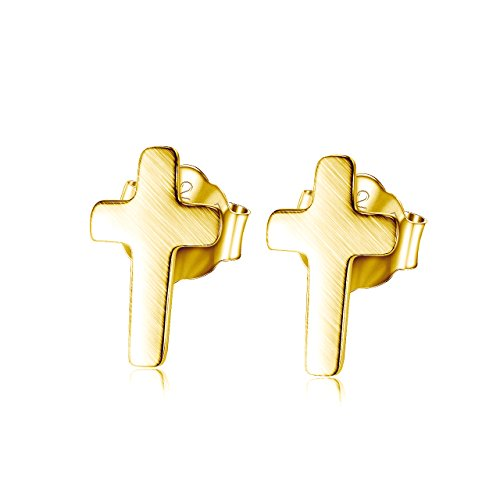Gold Silver Stud Over (Tiny Cross Stud Earrings | Brushed 18k Gold over 925 Sterling Silver)