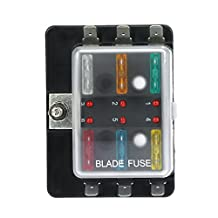 KKmoon DC12V 6 Way Blade Fuse Box Holder with LED Warning Light Kit for Car Boat Marine Trike