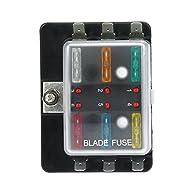 KKmoon DC12V 6 Way Blade Fuse Box Holder with LED Warning Light Kit for Car Boat Marine Trike