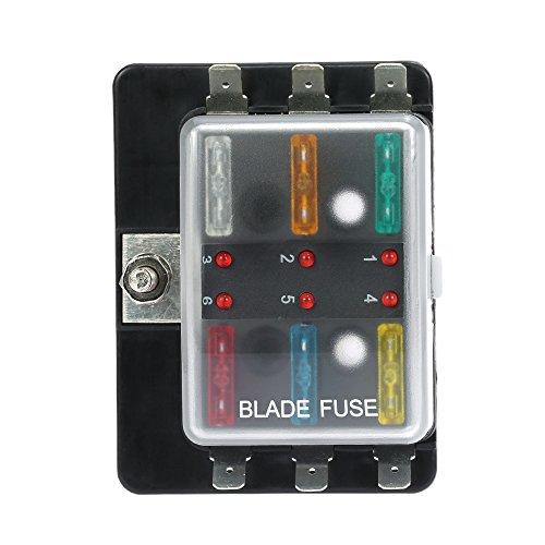 KKmoon DC12V 6 Way Blade Fuse Box Holder with LED Warning Light Kit for Car Boat Marine (Fuse Block 7 Circuit)