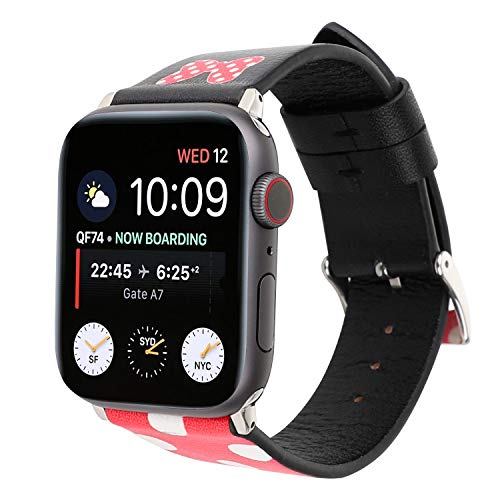 Lovely Style Watch Band Strap Cute Dressy Leather Wristband Bracelet Compatible with 40mm 38mm Apple Watch Series 4/3/2/1 (Red/Black)