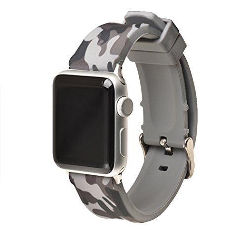 Autulet Competible with Apple 38 Watch Band Mens Camo Apple Watch Band 42mm for Grey Apple Watch Band Siliconeband Wristbands for Apple Watch Series 3/2/1