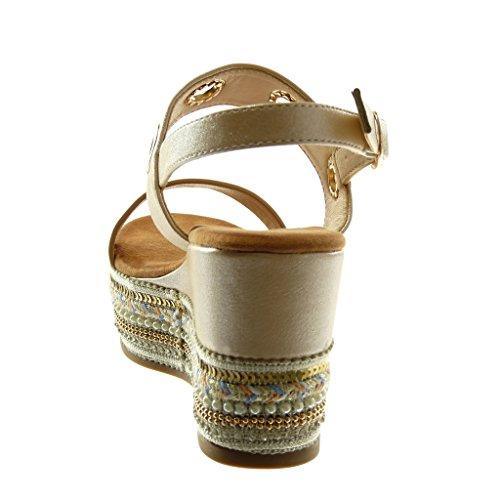 Lucida Cm Moda Folk 9 Cinturino Champagne Zeppa Fantasy Donna Traforata Alla Sandali Angkorly Piattaforma Caviglia Hz1Fqq