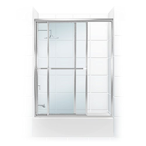 "UPC 787449174454, Coastal Shower Doors Paragon Series Framed Sliding Tub Door with Towel bar In Clear Glass, 54"" x 58"", Chrome"