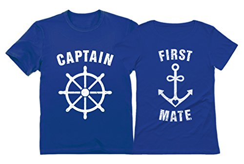 e8625a5b Funny Captain & First Mate Nautical Sailing Matching T-Shirts Set Couples Gift  Captain Blue