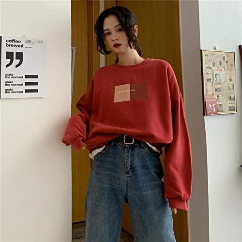 HOVYGB Weibliches Sweatshirt Herbst Neue Weinlese Starkes Loses Beiläufiges Frauen Sweatshirt Rot