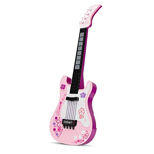 aPerfectLife Kids Electric Toy Guitar with Vibrant Sounds No String Musical Instruments Educational Toy for Beginner Boys Girls Toddlers (Pink)