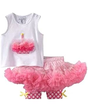 Girls Baby Birthday Cupcake Tank Top And Pettiskirt 0-6m