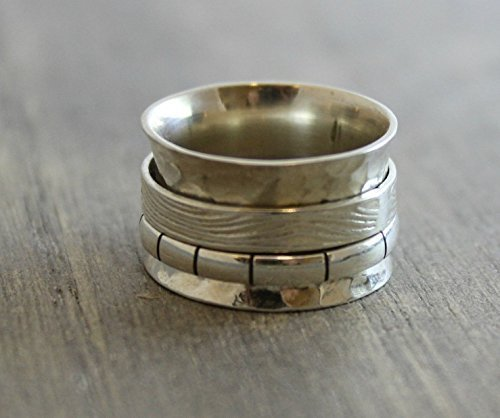 Sterling Silver Bohemian Spinning Fidget Ring Size 7