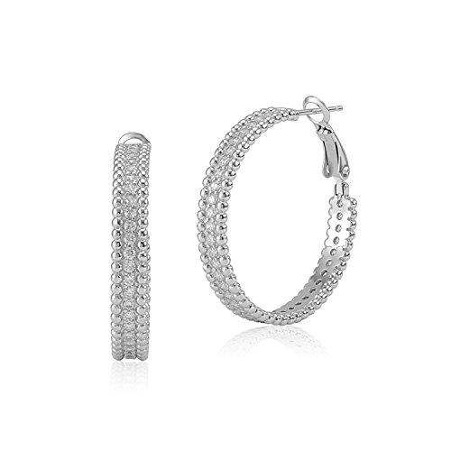 (MASSETE Sterling Silver 925 Beaded Edge Hoop Earrings with Cubic Zirconia 30mm)