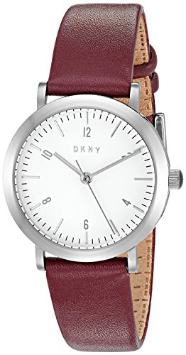 DKNY Women's Quartz Stainless Steel and Leather Automatic Watch, Color:Red (Model: NY2515)