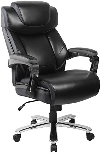 Flash Furniture HERCULES Series Big Tall 500 lb. Rated Black Leather Executive Swivel Ergonomic Office Chair with Adjustable Headrest