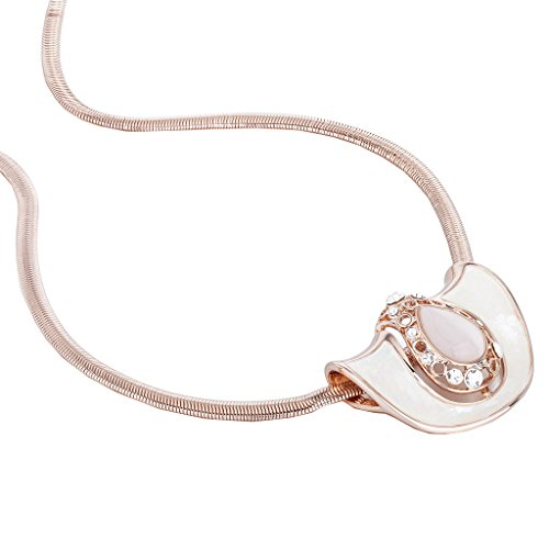 Snake Eyes Costumes Replica (Janeo Cats Eye Stone Pendant Necklace & Real Mother Of Pearl Inlaid, Swarovski Crystals - Rose Gold, Janeo Jewellery)