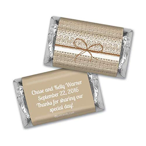 Wedding Favors Personalized Burlap & Lace Mini Wrappers for Hershey's Miniatures (100 Wrappers)