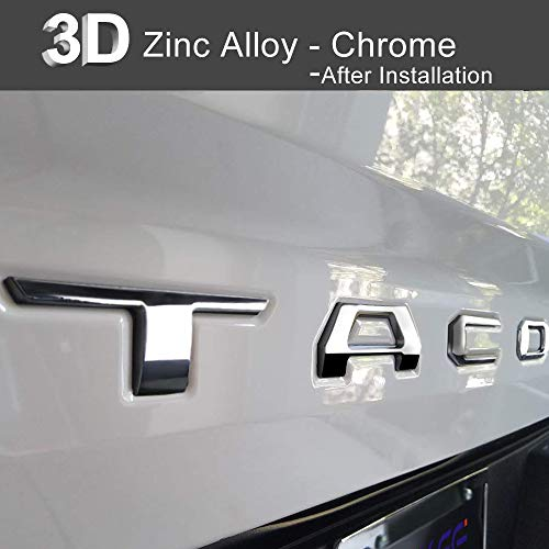 : Aukee Tailgate Letters for Toyota Tacoma 2016 2017 2018 2019 Emblem Inserts 3D Raised Metal (Chrome)