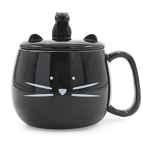 - Koolkatkoo 16OZ Cute Cat Coffee Mug with Cell Phone Holder Lid for Cat Lover Unique Ceramic Black Mugs Tea Cup Gift for Women