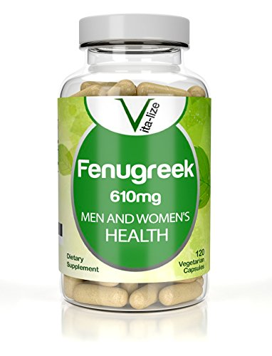 FENUGREEK Vita-lize: #1 Best GMO-FREE Fenugreek - 120 Vegetarian Capsules - 610mg Of Seed Powder Extract Supplement