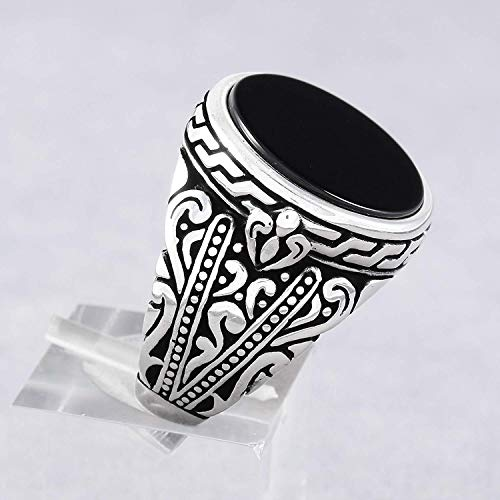 (Mens Silver Rings with Round Black Onyx Stone in 925 Sterling Men's Statement Ring Size 7 Turkish Handmade Gift for Him)