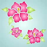 """Hibiscus Stencil - (size 6""""w x 4.5""""h) Reusable Wall Stencils for Painting - Best Quality Wall Art Décor Ideas - Use on Walls, Floors, Fabrics, Glass, Wood, Terracotta, and More…"""