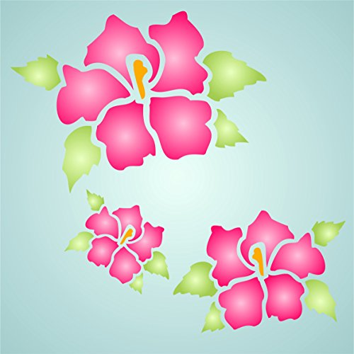 """Hibiscus Stencil - (size 6""""w x 4.5""""h) Reusable Wall Stencils for Painting - Best Quality Wall Art Décor Ideas - Use on Walls, Floors, Fabrics, Glass, Wood, Terracotta, and More… by Stencils for Walls"""