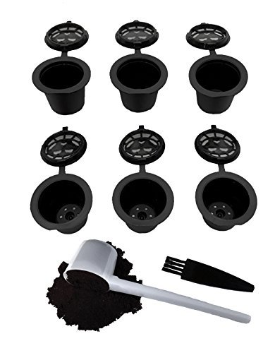 Reusable Nespresso Capsules - 6 Pack - Refillable Pods For Nespresso Machines (OriginalLine Compatible) (Color: Black)