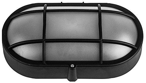 Kenable Wall-Mounted Lamp Outdoor Oval Bulkhead E27 Light IP44 Black