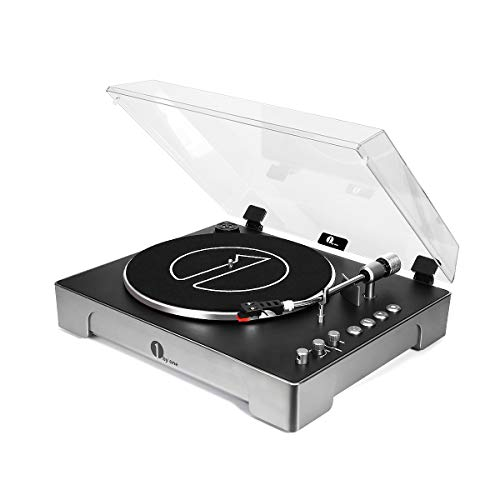 1byone Fully-Automatic 3-Speed Turntable Record Player with Adjustable Counterweight & Pitch Control, Vinyl-to-MP3USB Computer Recording, Remote Control, Aux-in and Out