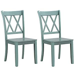 Giantex Set of 2 Dining Chairs, Rubber Wood Dining Room Side Chair, Mestler Dining Room Side Chairs for Home Kitchen…