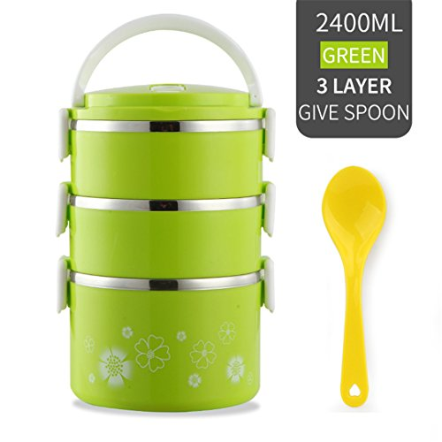 Japanese Flower Pattern Lunch Box For Kids Stainless Steel Bento Box Thermal For Food With Microwave Food Container 3 Layer - Metal Lunch Transformer Box