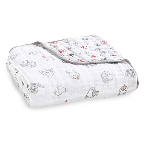aden + anais Dream Blanket, 100% Cotton Muslin, 4 Layer lightweight and breathable, Large 47 X 47 inch, Limited Edition Year Of The Dog Dream Blanket A Baby Dog Blankets