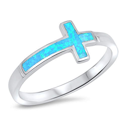 Blue Simulated Opal Sideways Cross Ring .925 Sterling Silver Christian Band Size 8