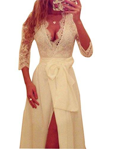Vestito Duraplast Con Promenade Bianca Manica Lunga Donne Partito Fessura Sexy Abito Delle Di Da gnXq6Rx