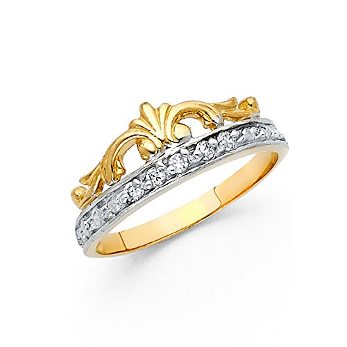 Diva Genuine Ring - Crown Ring Solid 14k White Yellow Gold Band Tiara CZ Fashion Diamond Cut Princess Diva Fancy, Size 5